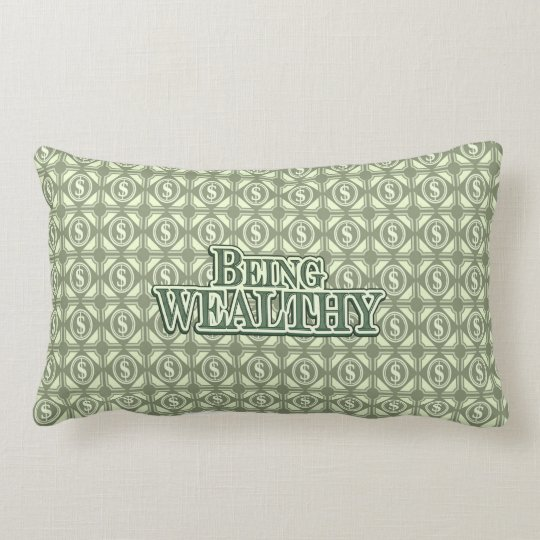 Being Wealthy! Throw pillow light green