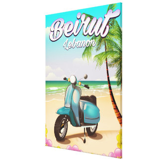 Beirut Lebanon Scooter travel poster Canvas Print