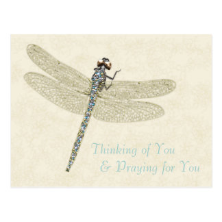 Bejeweled Dragonfly Thinking/Praying For You Postcard