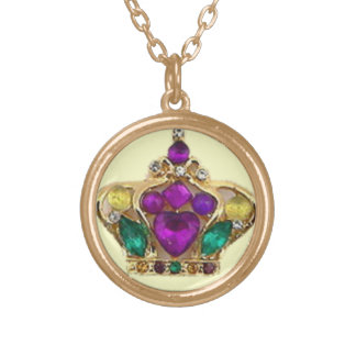 Bejeweled Queen of Mardi Gras Gold Plated Necklace