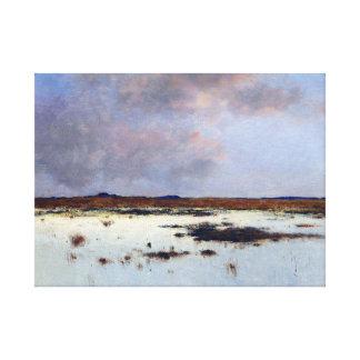 Bela von Spanyi Evening Over a River Landscape Canvas Print