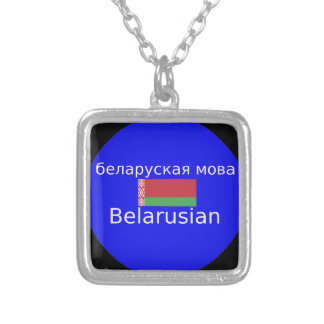 Belarus Flag And Language Design Silver Plated Necklace