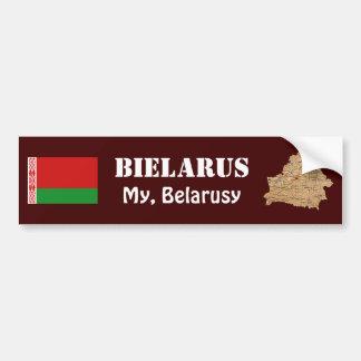 Belarus Flag + Map Bumper Sticker