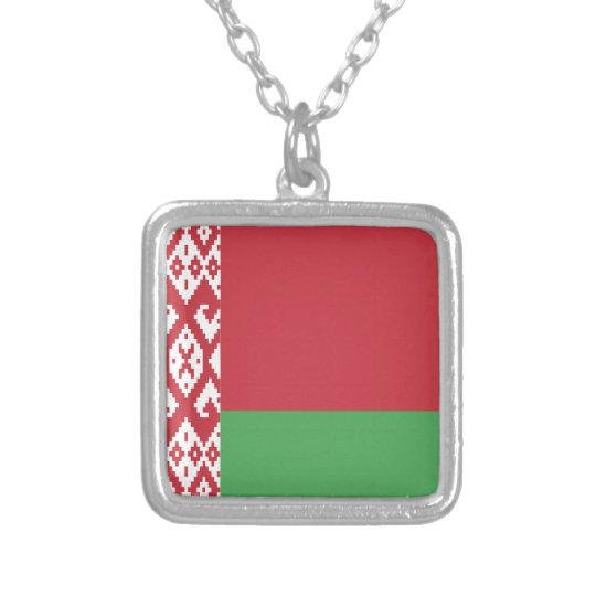 Belarus Flag Silver Plated Necklace