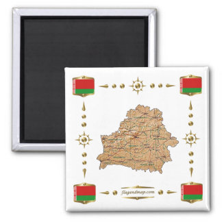 Belarus Map + Flags Magnet