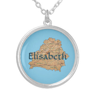 Belarus Map + Name Necklace