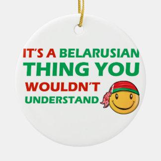 Belarus Smiley Designs Round Ceramic Ornament