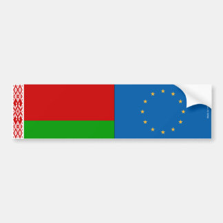 Belarusian & European Union Flags Bumper Sticker