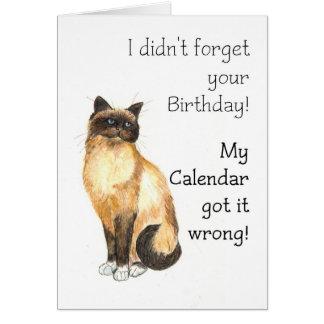 Belated Birthday Card - Birman Cat