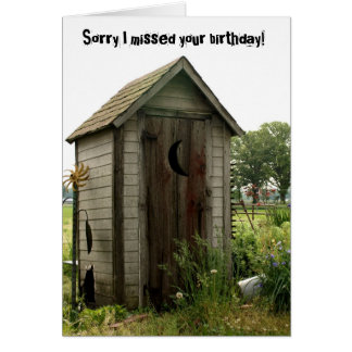 belated birthday, outhouse card