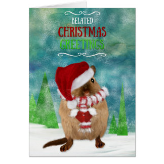 Belated Christmas Gerbil Santa Hat in Winter Scene Card