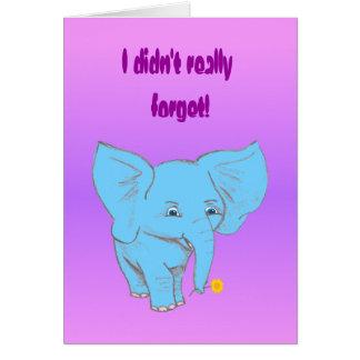 belated elephant, card