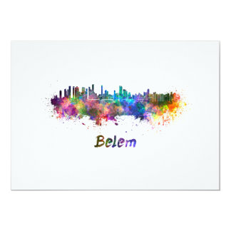 Belem skyline in watercolor card