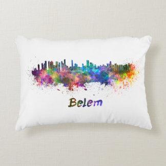 Belem skyline in watercolor decorative pillow