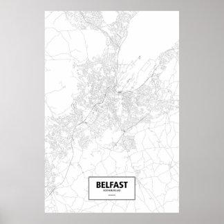 Belfast, Northern Ireland (black on white) Poster