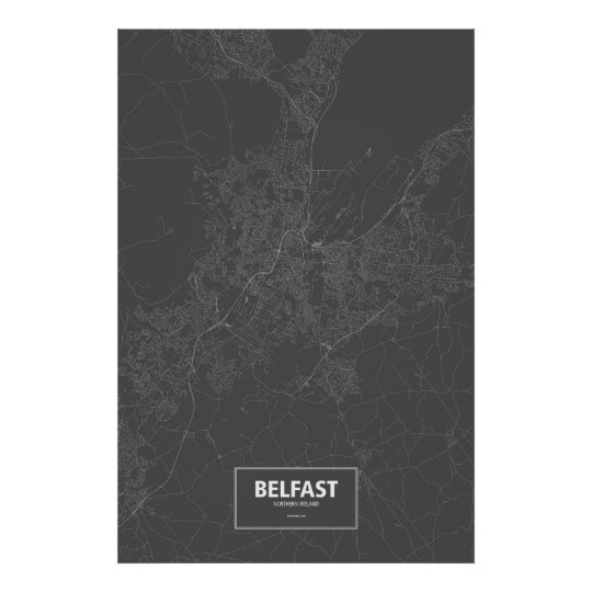Belfast, Northern Ireland (white on black) Poster