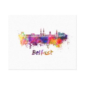 Belfast skyline in watercolor canvas print