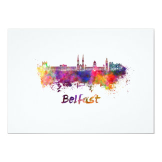 Belfast skyline in watercolor card