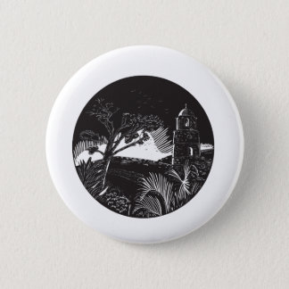 Belfry Tower On Hill Trees Circle Woodcut 2 Inch Round Button