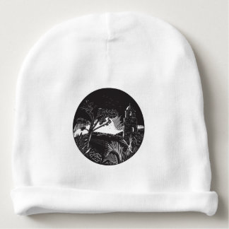 Belfry Tower On Hill Trees Circle Woodcut Baby Beanie