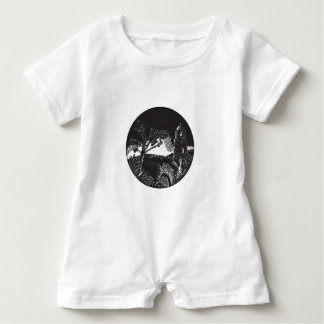 Belfry Tower On Hill Trees Circle Woodcut Baby Romper