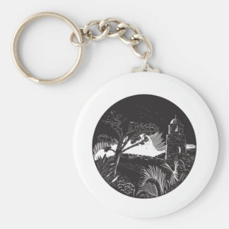 Belfry Tower On Hill Trees Circle Woodcut Basic Round Button Keychain