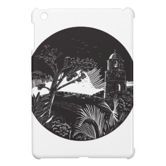 Belfry Tower On Hill Trees Circle Woodcut iPad Mini Case