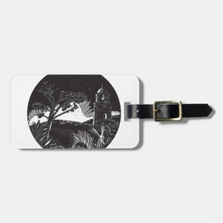 Belfry Tower On Hill Trees Circle Woodcut Luggage Tag