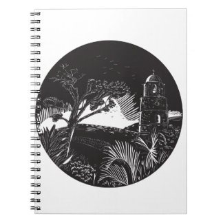 Belfry Tower On Hill Trees Circle Woodcut Notebook