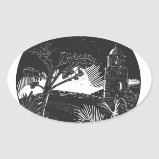 Belfry Tower On Hill Trees Circle Woodcut Oval Sticker