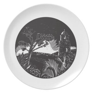 Belfry Tower On Hill Trees Circle Woodcut Party Plate