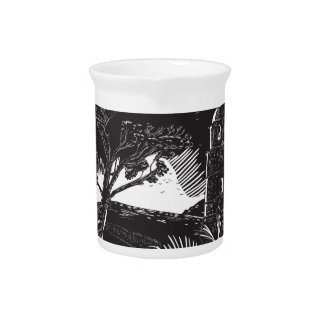 Belfry Tower On Hill Trees Circle Woodcut Pitcher