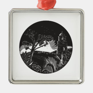 Belfry Tower On Hill Trees Circle Woodcut Silver-Colored Square Ornament