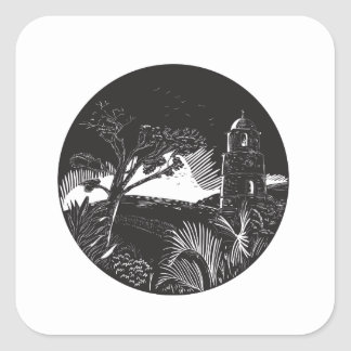 Belfry Tower On Hill Trees Circle Woodcut Square Sticker