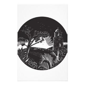Belfry Tower On Hill Trees Circle Woodcut Stationery