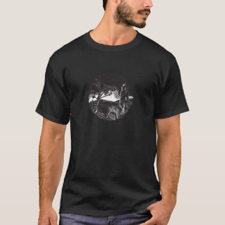 Belfry Tower On Hill Trees Circle Woodcut T-Shirt