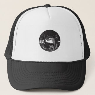 Belfry Tower On Hill Trees Circle Woodcut Trucker Hat