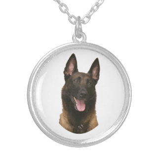 belgain malinois silver plated necklace