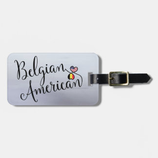 Belgian American Entwined Hearts Luggage Tag