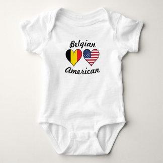 Belgian American Flag Hearts Baby Bodysuit