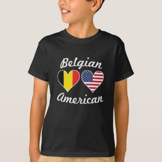 Belgian American Flag Hearts T-Shirt
