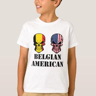 Belgian American Flag Skulls T-Shirt