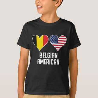 Belgian American Heart Flags T-Shirt