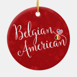 Belgian American Hearts Flags Holiday Decoration