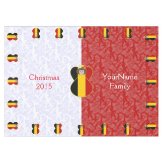 Belgian Angel Flag Brown Hair Red White Tablecloth