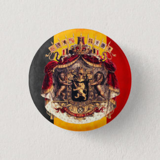 Belgian flag with coat or arm 1 inch round button