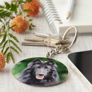 Belgian Groenendael dog, Belgian Shepherd photo Basic Round Button Keychain