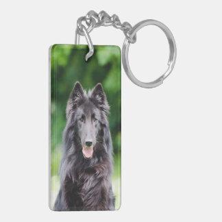 Belgian Groenendael dog, Belgian Shepherd photo Double-Sided Rectangular Acrylic Keychain
