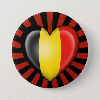 Belgian Heart Flag with Star Burst 3 Inch Round Button