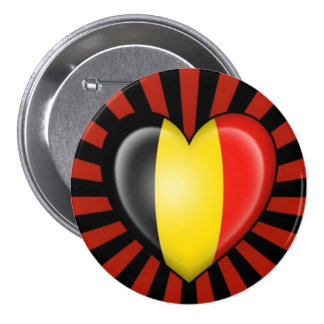 Belgian Heart Flag with Star Burst 3 Inch Round Button